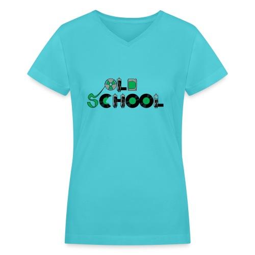 Old School Music - Women's V-Neck T-Shirt