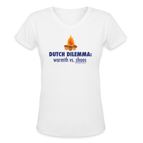05 Dutch Dilemma blue lettering - Women's V-Neck T-Shirt