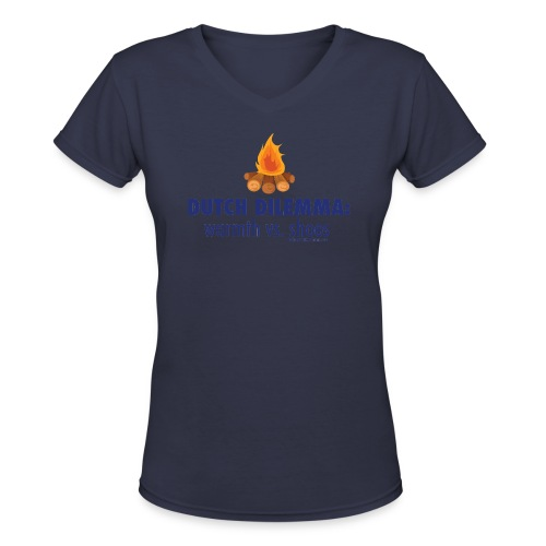 05 Dutch Dilemma blue lettering - Women's V-Neck T-Shirt