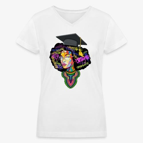 Black Educated Queen School - Women's V-Neck T-Shirt