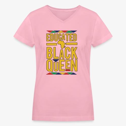 Dashiki Educated BLACK Queen - Women's V-Neck T-Shirt