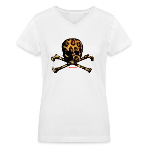 LeopardSkull - Women's V-Neck T-Shirt