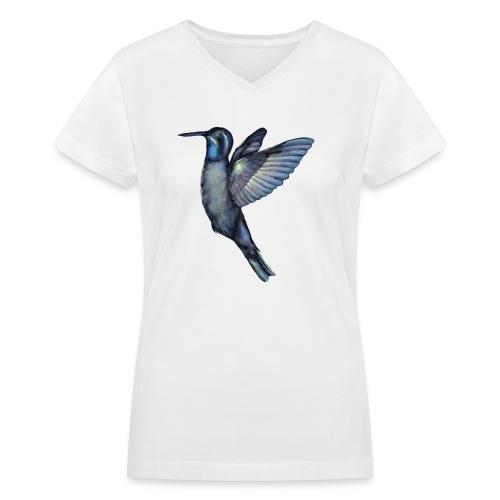 Hummingbird in flight - Women's V-Neck T-Shirt