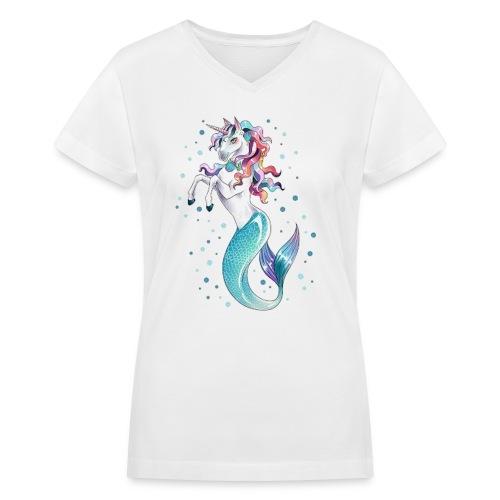 unicorn mermaid - Women's V-Neck T-Shirt