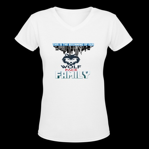 We Are Linked As One Big WolfPack Family - Women's V-Neck T-Shirt