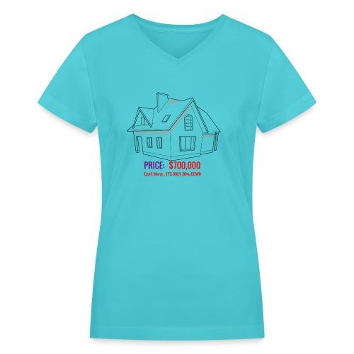 Fannie & Freddie Joke - Women's V-Neck T-Shirt