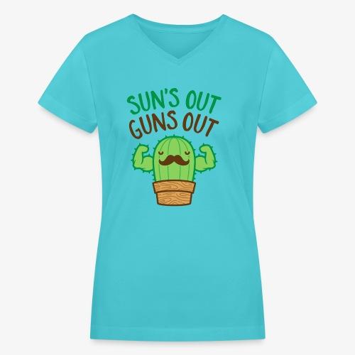 Sun's Out Guns Out Macho Cactus - Women's V-Neck T-Shirt