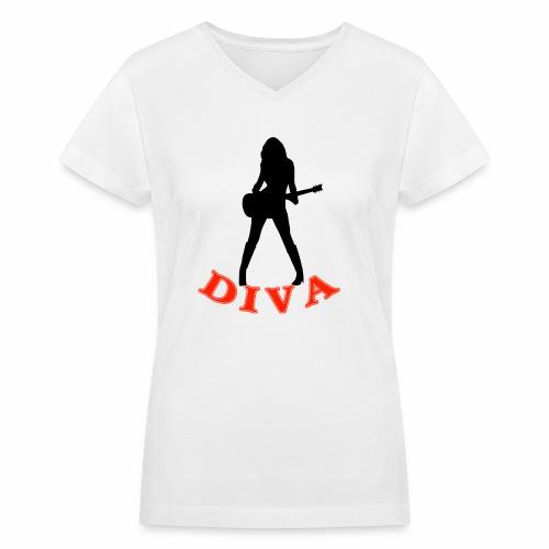 Rock Star Diva - Women's V-Neck T-Shirt