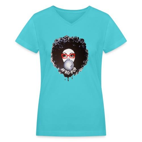Afro pop_ - Women's V-Neck T-Shirt
