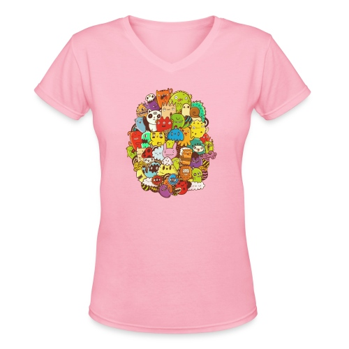 Doodle for a poodle - Women's V-Neck T-Shirt