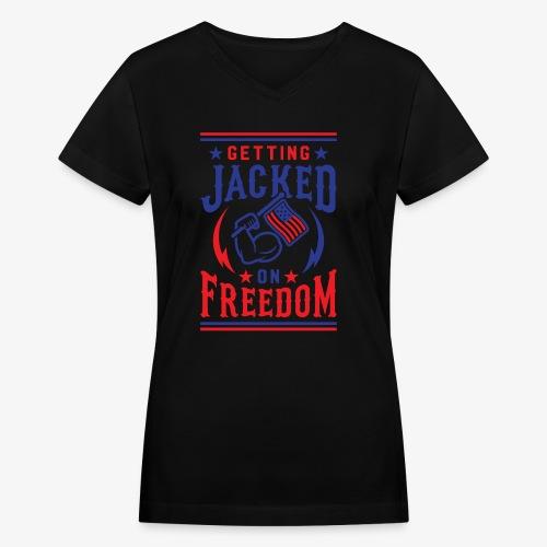 Getting Jacked On Freedom - Women's V-Neck T-Shirt
