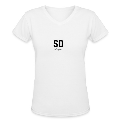 SD Designs blue, white, red/black merch - Women's V-Neck T-Shirt
