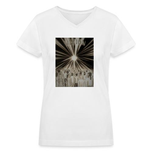 Black_and_White_Vision2 - Women's V-Neck T-Shirt