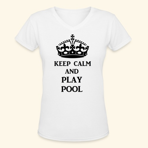 keep calm play pool blk - Women's V-Neck T-Shirt