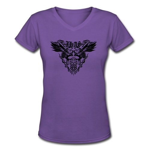 Vintage JHAS Tribal Skull Wings Illustration - Women's V-Neck T-Shirt