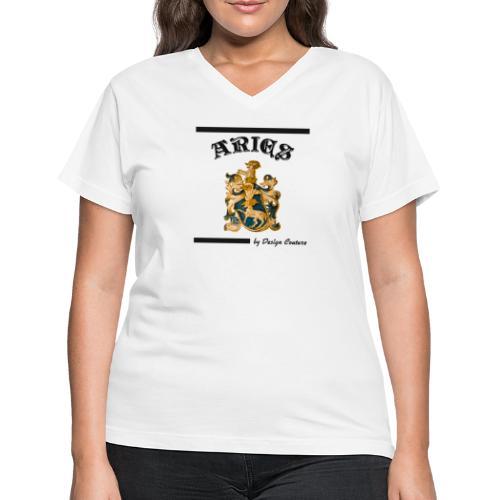 ARIES BLACK - Women's V-Neck T-Shirt