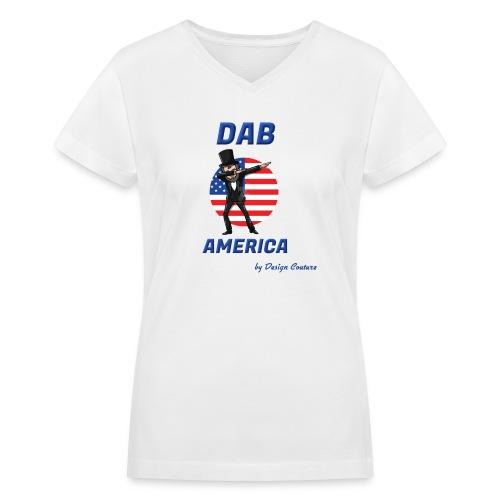 DAB AMERICA BLUE - Women's V-Neck T-Shirt