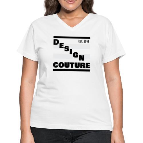 DESIGN COUTURE EST 2016 BLACK - Women's V-Neck T-Shirt