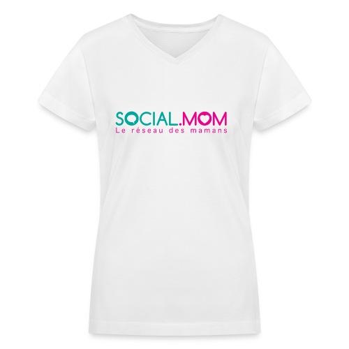 Social.mom logo français - Women's V-Neck T-Shirt