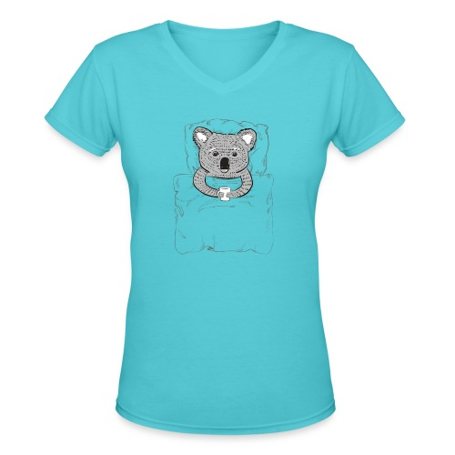 Print With Koala Lying In A Bed - Women's V-Neck T-Shirt