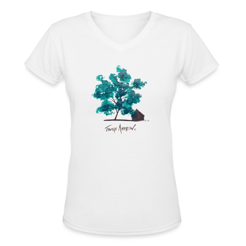 Teal Tree PNG - Women's V-Neck T-Shirt