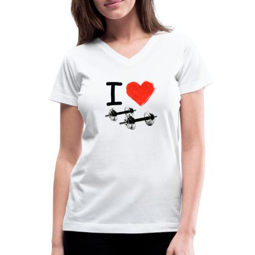 I Love Iron Gym Motivation - Women's V-Neck T-Shirt