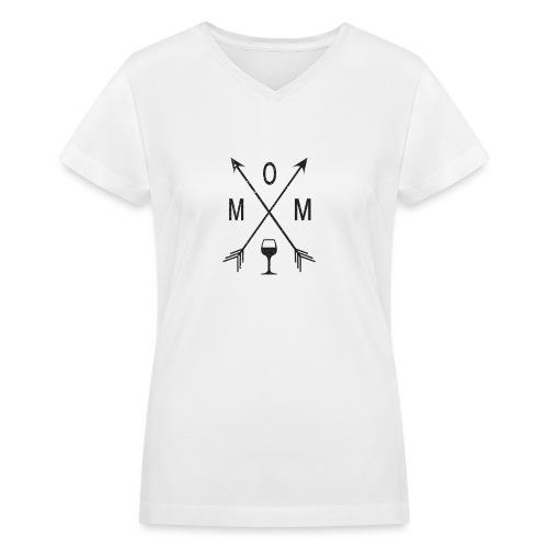 Mom Loves Wine (black ink) - Women's V-Neck T-Shirt