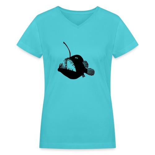 anglerfish frogfish sea devil deep sea angler - Women's V-Neck T-Shirt