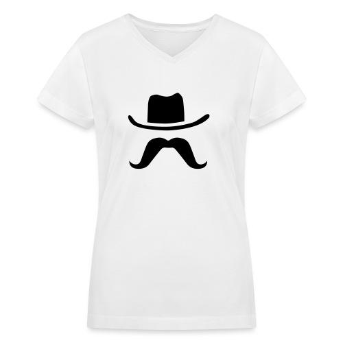 Hat & Mustache - Women's V-Neck T-Shirt