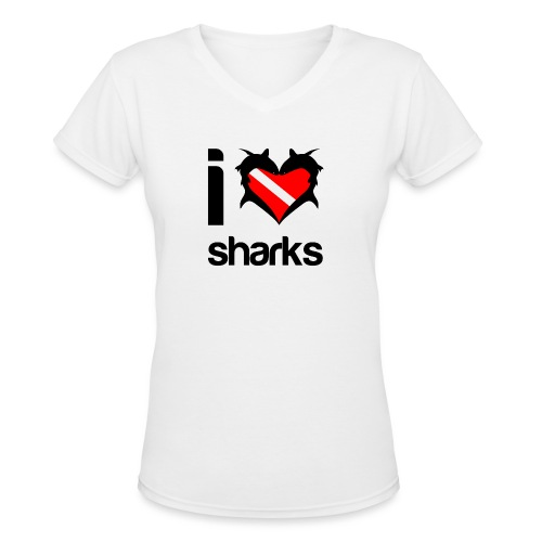 I Love Sharks - Women's V-Neck T-Shirt
