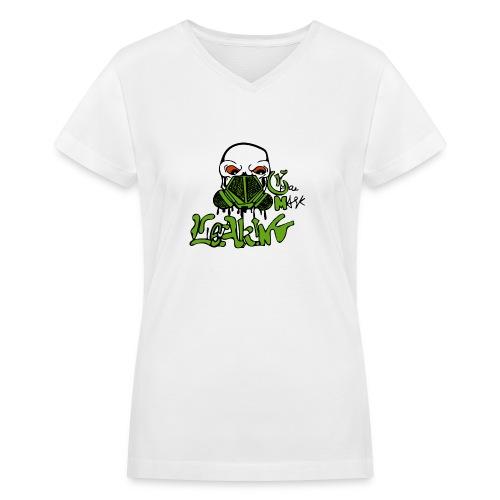 Leaking Gas Mask - Women's V-Neck T-Shirt