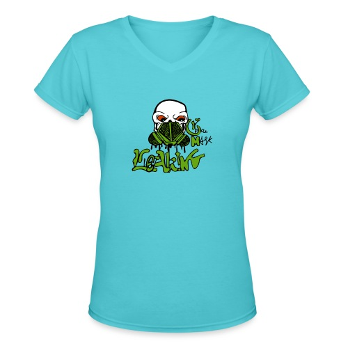 Leaking Gas Mask - Women's V-Neck T-Shirt