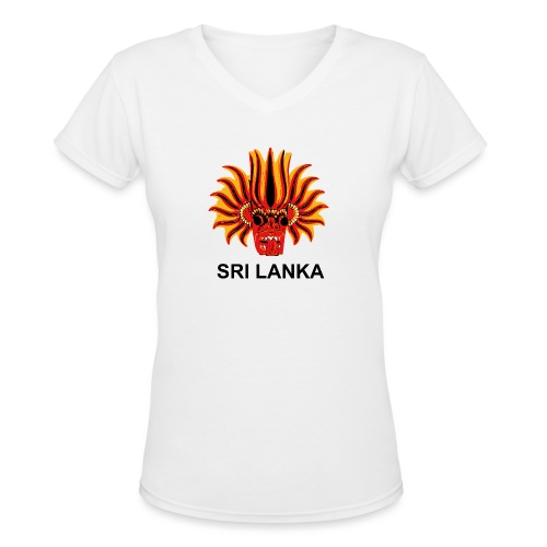 Sri Lanka Mask - Women's V-Neck T-Shirt