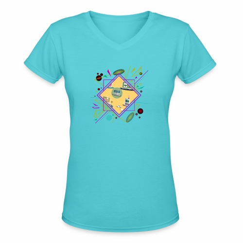 crypto clothing computer connecting - Women's V-Neck T-Shirt