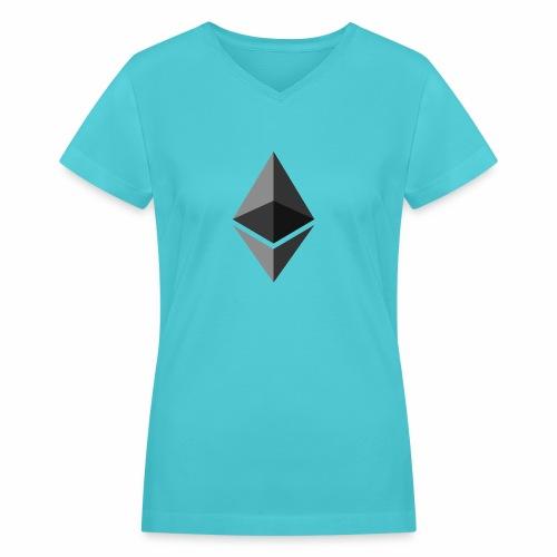 ethereum icon brand - Women's V-Neck T-Shirt