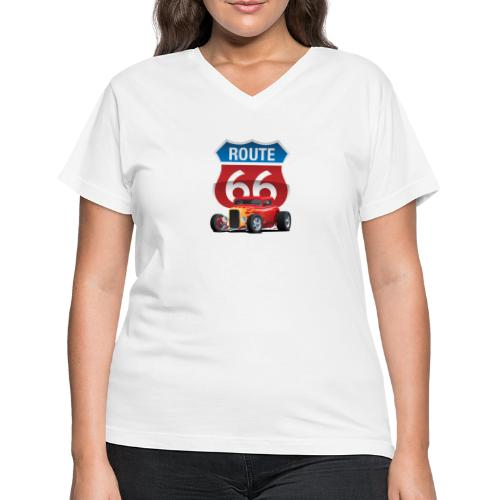 Route 66 Sign with Classic American Red Hotrod - Women's V-Neck T-Shirt