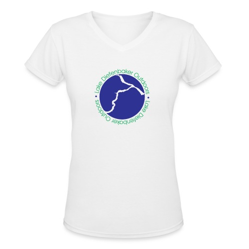 LDO WHITE LOGO - Women's V-Neck T-Shirt