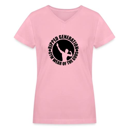 Ripped Generation Gym Wear of the Gods Badge Logo - Women's V-Neck T-Shirt