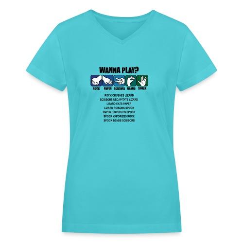 rock paper scissors lizard spock shirt - Women's V-Neck T-Shirt
