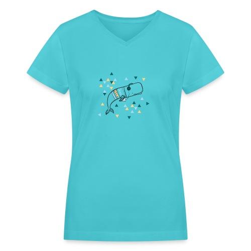 Music Whale - Women's V-Neck T-Shirt