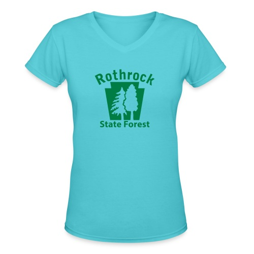 Rothrock State Forest Keystone (w/trees) - Women's V-Neck T-Shirt