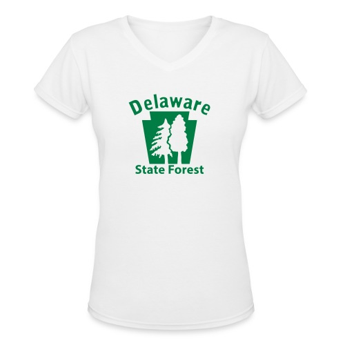 Delaware State Forest Keystone (w/trees) - Women's V-Neck T-Shirt