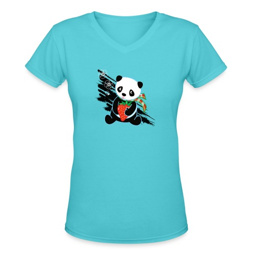 Cute Kawaii Panda T-shirt by Banzai Chicks - Women's V-Neck T-Shirt