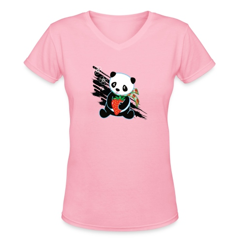 Cute Kawaii Panda T-shirt by Banzai Chicks - Women's V-Neck T-Shirt