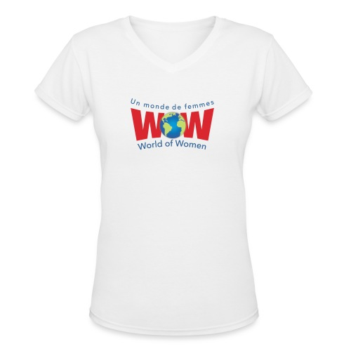 WOW logo Big - Women's V-Neck T-Shirt