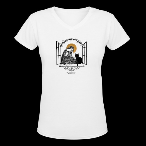 Saint Gertrude of Nivelles - Women's V-Neck T-Shirt