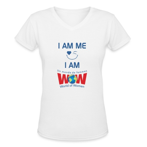IamMeIamWowLogoBiggerBlue - Women's V-Neck T-Shirt