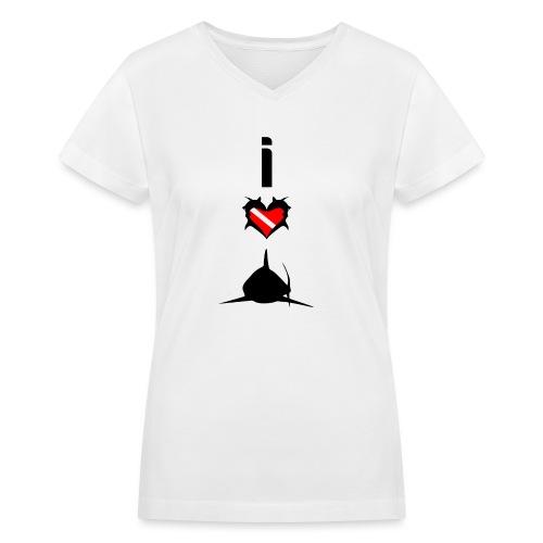 I Love Sharks - Women's V-Neck T-Shirt