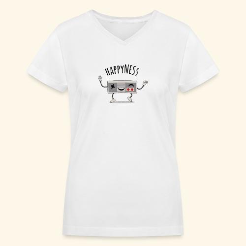 happyness2 motiv - Women's V-Neck T-Shirt
