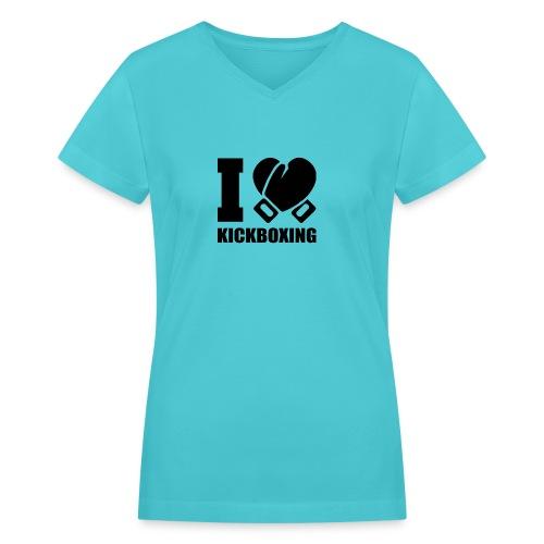 I Love Kickboxing - Women's V-Neck T-Shirt